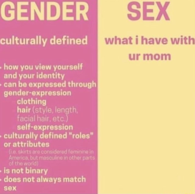 GENDER culturally defined what have with urmom how you view yourself and your identity can be expressed through gender expression hair style, length, facial hair, self expression culturally defined roles or attributes ie. skirts are considered femining in America, but masculine in other parts of the world  is not binary does not always match sex memes