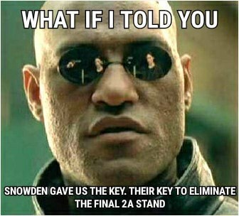 AT I TOLD YOU SNOWDEN GAVE US THE KEY. THEIR KEY TO ELIMINATE THE FINAL STAND meme