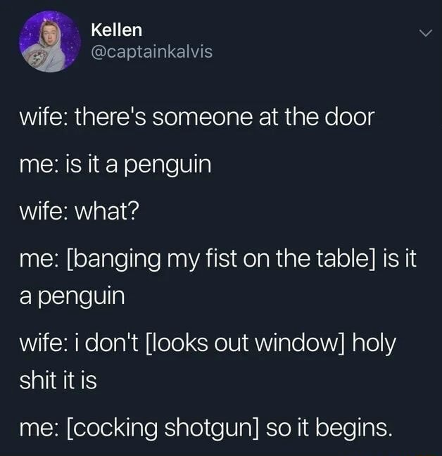 Kellen captainkalvis wife there's someone at the door me is it a penguin wife what me  banging my fist on the table is it a penguin wife i do not looks out window holy shit it is me  cocking shotgun so it begins memes