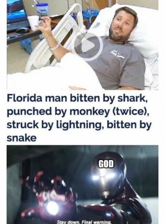 Florida man bitten by shark, punched by monkey twice , struck by lightning, bitten by snake Sow memes
