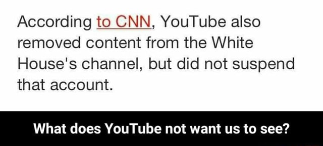 According to CNN, YouTube also removed content from the White House's channel, but did not suspend that account. What does YouTube not want us to see What does YouTube not want us to see memes