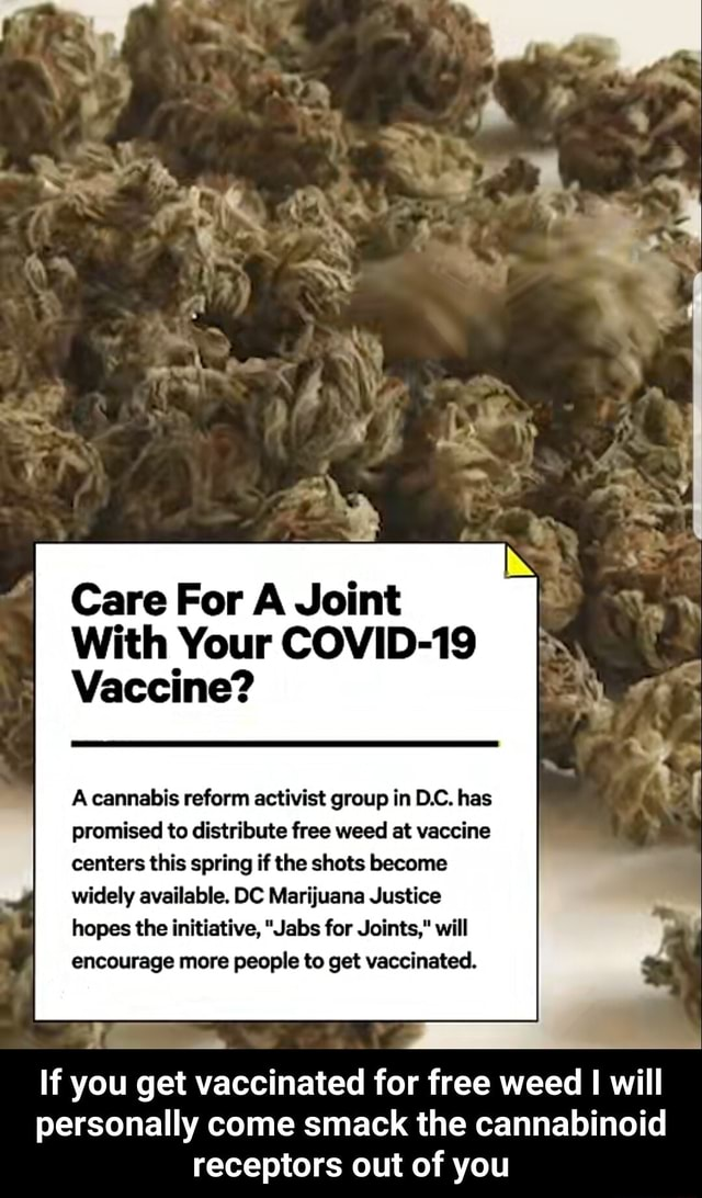Care For A Joint With Your COVID 19 Vaccine cannabis reform activist group in D.C. has promised to distribute free weed at vaccine centers this spring if the shots become widely available. DC Marijuana Justice hopes the initiative, Jabs for Joints, will encourage more people to get vaccinated. If you get vaccinated for free weed will personally come smack the cannabinoid receptors out of you If you get vaccinated for free weed I will personally come smack the cannabinoid receptors out of you memes
