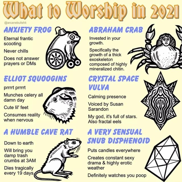 What to 2020 ANXIETY FROG ABRAHAM CRAB Invested in your Eternal frantic scooting growth. Never chills Specifically the growth of a thick Does not answer exoskeleton prayers or DMs composed of highly mineralized chitin. ELLIOT SQUOOGINS CRYSTAL SPACE prrert prerrt vu VA Munches celery all damn day Calming presence Voiced by Susan Cute lil feet Sarandon Consumes reality M god, it's full of stars. when nervous ly god, it's full fractal of eels stars. Also fractal eels A HUMBLE CAVE RAT VERY SENSUAL SNUB DISPHENOID Puts candles everywhere Creates constant sexy drama and highly erotic weather Definitely watches you poop Down to earth Will bring you damp trash crumbs at Dies tragically every 19 days, memes