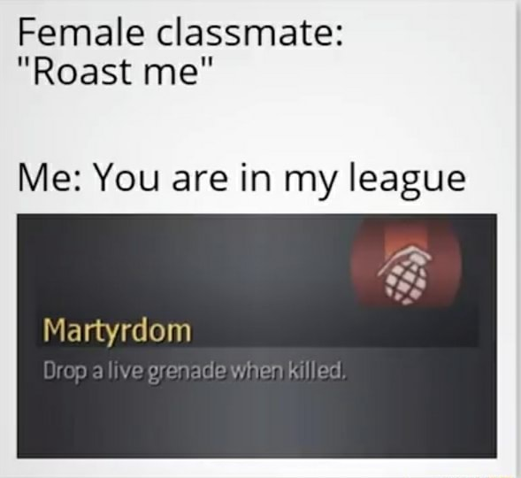 Female classmate  Roast me Me You are in my league Martyrdom Orep alive grenade Killed, memes