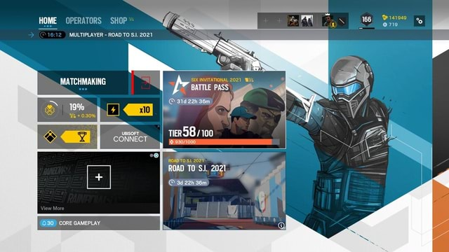 HOME OPERATORS SHOP 166 141949 719  MULTIPLAYER  ROAD TO 2021 MATCHMAKING SS SS SIX INVITATIONAL 2021 Wills BATTLE PASS 31d22h36m  I TIER 100 19%  0.30% UBISOFT CONNECT ROAD TO 2027 ROAD TO SI. 2021 30 CORE GAMEPLAY memes