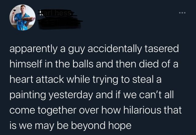 Apparently a guy accidentally tasered himself in the balls and then died of a heart attack while trying to steal a painting yesterday and if we can not all come together over how hilarious that is we may be beyond hope memes