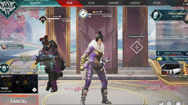 CLUB LEGENDS LOADOUT STORE Mu levs purga ST SQUAD mes TAKEOVER ACTIVE FIGHT NIGHT SEASON TAB La mate FIGHT NIGHT 6d13h14m CHALL 00 Points 2 Friends In APEX I damage with fully ited TETO PARTY CicrosspLay TRIOS Party not ready CANCER meme