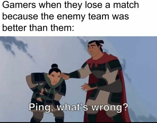 Gamers when they lose a match because the enemy team was better than them Ping. what's wrong meme
