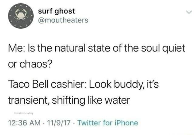 Surf ghost moutheaters Me Is the natural state of the soul quiet or chaos Taco Bell cashier Look buddy, it's transient, shifting like water AM Twitter for iPhone meme