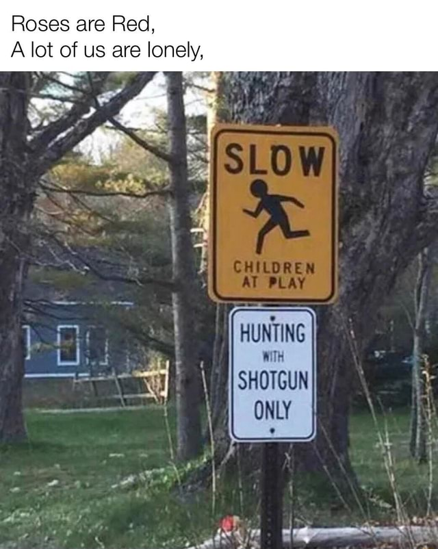 Roses are Red, A lot of us are lonely, Ar I HUNTING WiTH SHOTGUN ONLY At memes