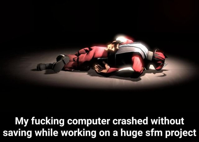 My fucking computer crashed without saving while working on a huge sfm project  My fucking computer crashed without saving while working on a huge sfm project memes