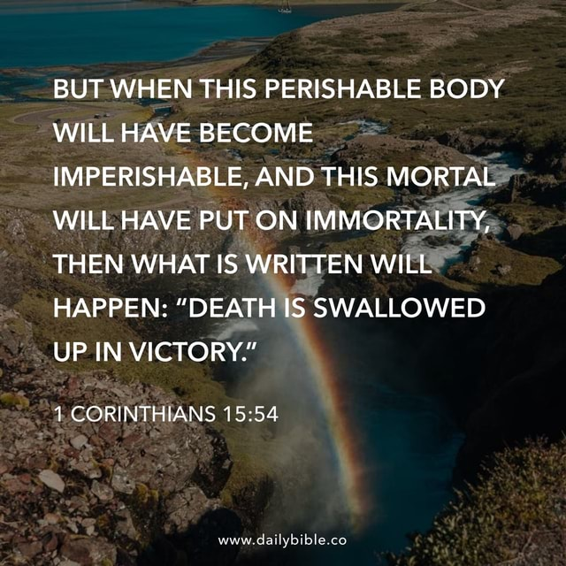 BUT WHEN THIS PERISHABLE BODY WILL HAVE BECOME IMPERISHABLE, AND THIS MORTAL WILL HAVE PUT ON IMMORTALITY, THEN WHAT IS WRITTEN WILL HAPPEN  DEATH IS SWALLOWED UP IN VICTORY. 1 CORINTHIANS www.dailybible.co memes
