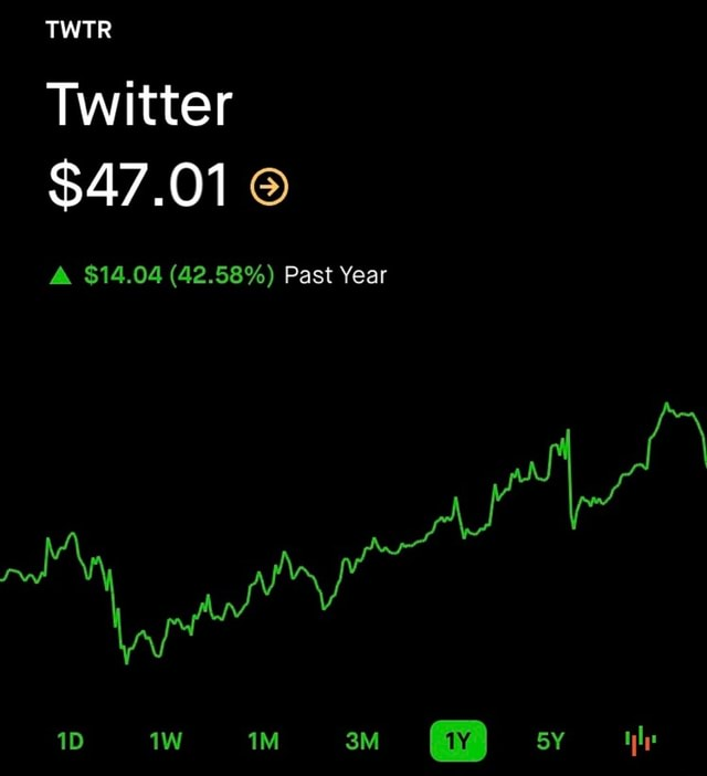 Twitter $47.01 A $14.04 42.58% Past Year memes