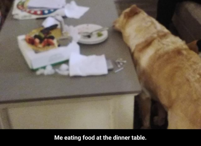 Me eating food at the dinner table.  Me eating food at the dinner table meme