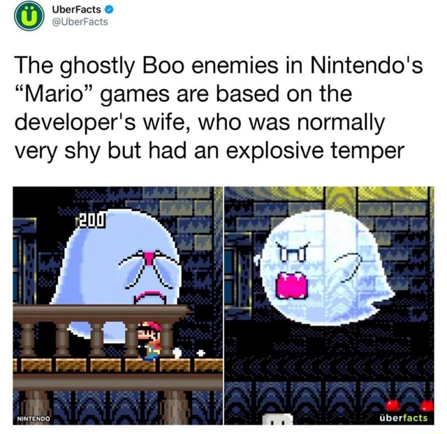 The ghostly Boo enemies in Nintendo's Mario games are based on the developer's wife, who was normally very shy but had an explosive temper  Peed Peed NINTENDO Uberfacts memes