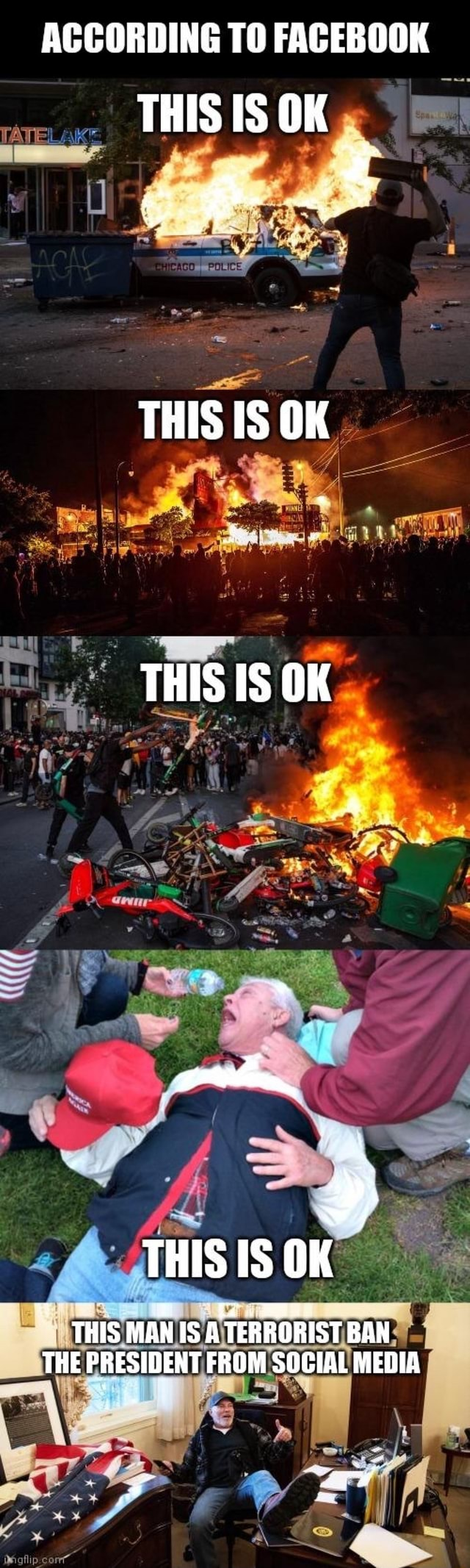 ACCORDING TO FACEBOOK THIS IS OK LI rr THIS IS OK THIS IS OK SS THIS IS OK THIS MAN S A TERRORIST BAN THE PRESIDENT FROM SOCIAL MEDIA memes