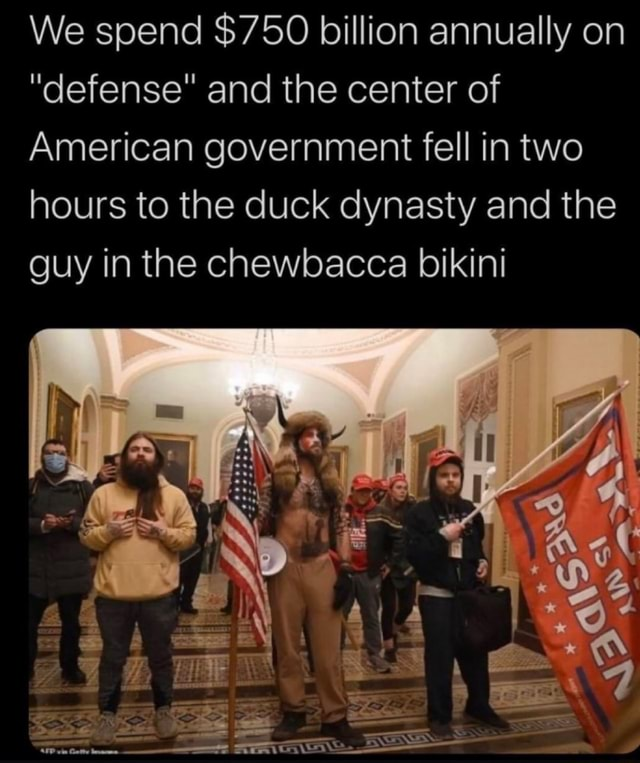 We spend $750 billion annually on defense and the center of American government fell in two hours to the duck dynasty and the guy in the chewbacca bikini We meme