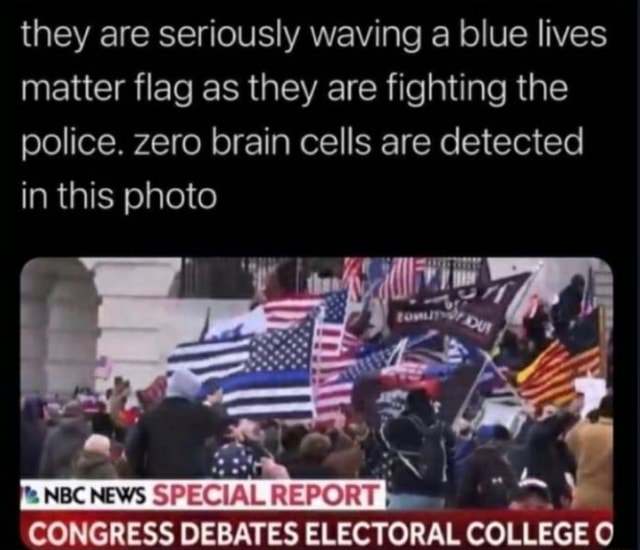 They are seriously waving a blue lives matter flag as they are fighting the police. zero brain cells are detected in this photo NBC NEWS SPECIAL REPORT CONGRESS DEBATES ELECTORAL COLLEGE memes