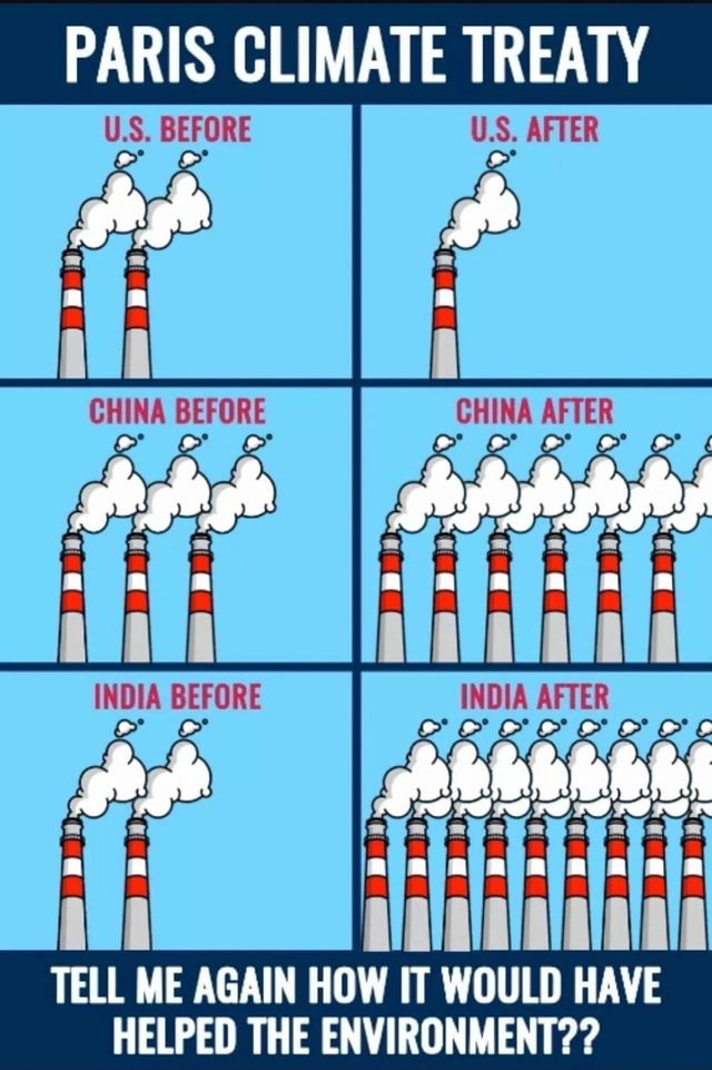 PARIS CLIMATE TREATY U.S. BEFORE AFTER CHINA BEFORE CHINA AFTER INDIA BEFORE INDIA AFTER tl alatalalalalais TELL ME AGAIN HOW IT WOULD HAVE HELPED THE ENVIRONMENT memes