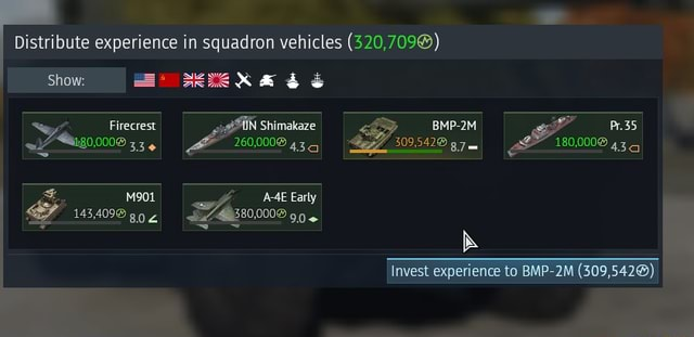 Distribute experience in squadron vehicles 520,709 Show Shimakaze Firecrest 1901 143,409 BMP 2M is Invest experience to BMP 2M meme
