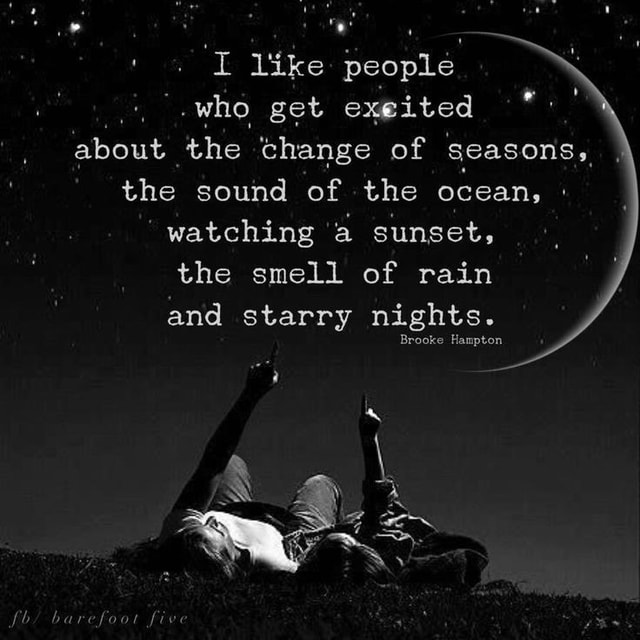 I like people who get exeited about the change of seasons, the sound of the ocean, watching a sunset, the smell of rain and starry nights. Brooke Hampton meme