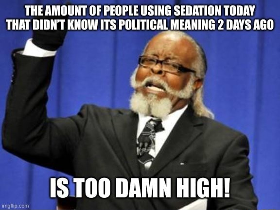 THE AMOUNT OF PEOPLE USING SEDATION TODAY THAT DIDN'T KNOW ITS POLITICAL MEANING 2 DAYS AGO Ls if TOO DAMN HIGH memes