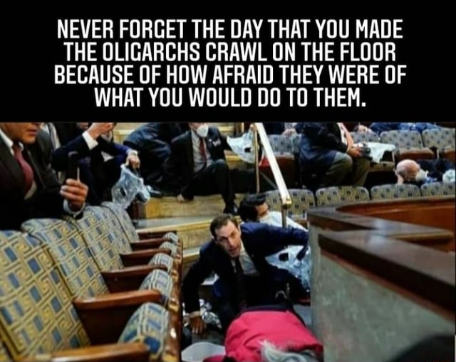 NEVER FORGET THE DAY THAT YOU MADE THE OLIGARCHS CRAWL ON THE FLOOR BECAUSE OF HOW AFRAID THEY WERE OF WHAT YOU WOULD DO TO THEM meme