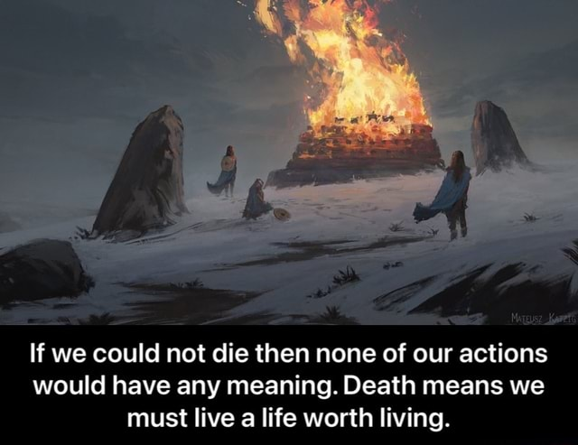 If we could not die then none of our actions would have any meaning. Death means we must live a life worth living. If we could not die then none of our actions would have any meaning. Death means we must live a life worth living meme