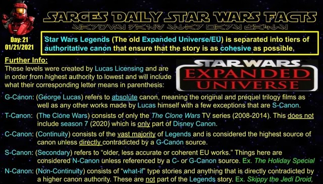 SRE GES 3 SYNR AIL WARS ACTS 21 Star Wars Legends The old Expanded is separated into tiers of I authoritative canon that ensure that the story is as cohesive as possible, Further Info AR WARS These in what levels order their were created from highest corresponding by authority Lucas Licensing letter ta. lowest means in and and will are include parenthesis PA IN ID ID UNIVERSE in order from highest authority to.lowest and will include what their corresponding letter means in parenthesis G Canon George Lucas refers to absolute canon, meaning the the original and prequel trilogy fi prequel prequel trilogy films as well as any other works made by Lucas himself with a few exceptions that are S Canon. T Canon The Clone Wars consists of only the The Clone Wars TV series 2008 2014 . This does n