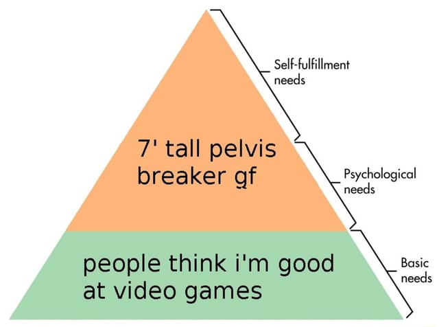 Self fulfillment needs 7 tall pelvis breaker Ler gf Psychological needs Basic needs people think gooe at games memes