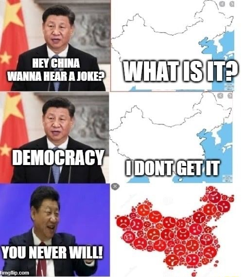 HEYCHINA WANHA HEAR A JOKE DEMOCRACY YOU NEVER WILL meme