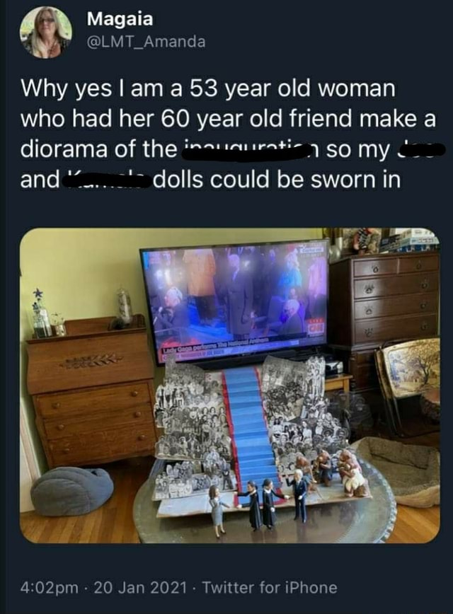Magaia LMT Amanda Why yes I am a 53 year old woman who had her 60 year old friend make a diorama of the so my and dolls could be sworn in  20 Jan 2021 Twitter for iPhone meme