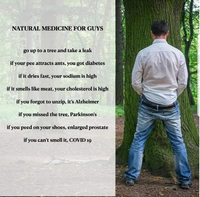 NATURAL MEDICINE FOR GUYS go up toa tree and take a leak if your pee attracts ants, you got diabetes if it dries fast, your sodium is high if it smells like meat, your cholesterol is high if you forgot to unzip, it's Alzheimer if you missed the tree, Parkinson's if you peed on your shoes, enlarged prostate if you can not smell it, COVID 19 meme