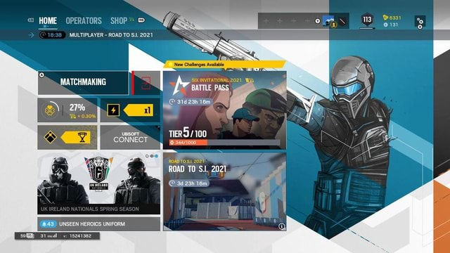 HOME OPERATORS SHOP MULTIPLAYER ROAD TO S.I. 2021 MATCHMAKING 27% New Challenges Available 131 Or SIX INVITATIONAL 2021, BATTLE PASS Mlk 0.30% UBISOFT CONNECT TIER 100 ROAD TO 2027 CO ROAD UK IRELAND NATIONALS SPRING SEASON 43 UNSEEN HEROICS UNIFORM 3imsul v 15241382 meme