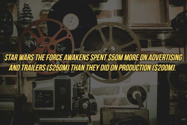 STAR WARS THE FORCE AWAKENS SPENT S50M MORE ON ADVERTISING AND TRAILERS $250M . THAN, THEY DID ON PRODUCTION S200M memes