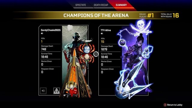 SPECTATE DEATH RECAP SUMMARY CHAMPIONS OF THE ARENA Alive TOTAL WITH KILLS SQUAD 16 WITH SQUAD SandyCheeks9935 Kills 1 Damage Dealt Damage Dealt 748 1879 Survival Time Survival Time Revive Given  Revive Given Respawn Given Respawn Given 4 if B Return to Lobby memes