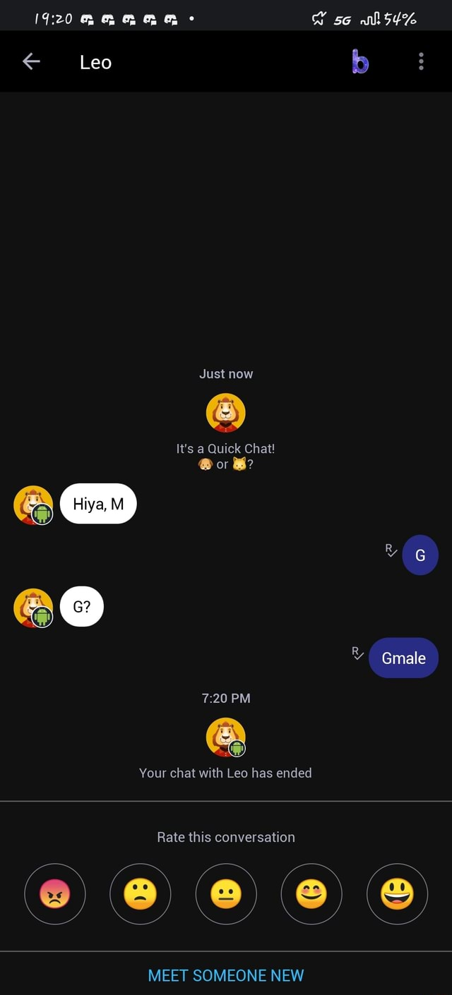 D so mM Leo b Just now It's a Quick Chat  or B Hiya, M male PM Your chat with Leo has ended Rate this conversation MEET SOMEONE NEW memes