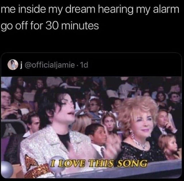Me inside my dream hearing my alarm go off for 30 minutes officialjamie I  We ROVE SONG memes