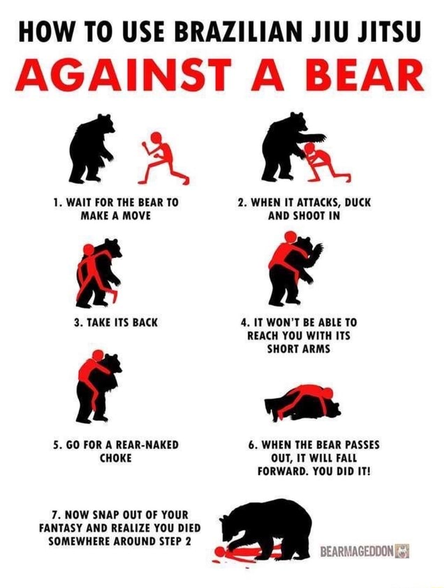 HOW TO USE BRAZILIAN JIU JITSU AGAINST A BEAR 1. WAIT FOR THE BEAR TO Bo WHEN IT ATTACKS, DUCK MAKE A MOVE AND SHOOT IN 3. TAKE ITS BACK 4. IT WON'T BE ABLE TO REACH YOU WITH ITS SHORT ARMS 5. GO FOR A REAR NAKED 6. WHEN THE BEAR PASSES CHOKE OUT, IT WILL FALL FORWARD. YOU DID IT 7. NOW SNAP OUT OF YOUR FANTASY AND REALIZE YOU DIED SOMEWHERE AROUND STEP 2 BEARS AGEODON memes