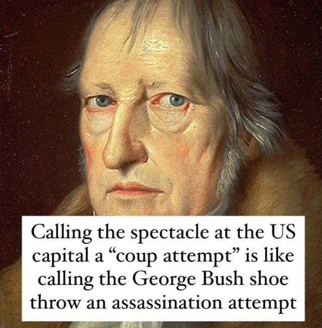 Calling the spectacle at the US capital a coup attempt is like calling the George Bush shoe throw an assassination attempt meme