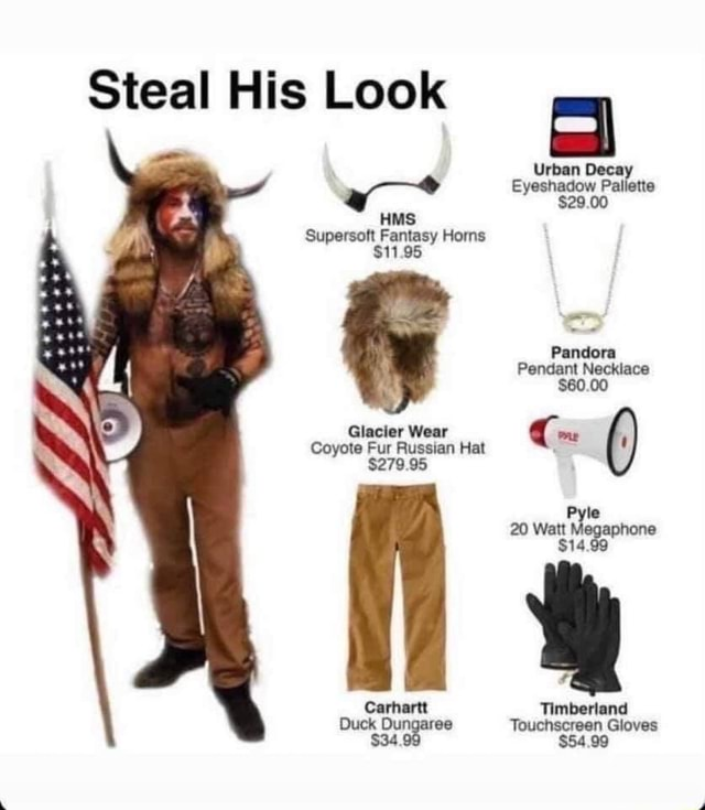 Steal His Look Urban Decay Eyeshadow Palette $29.00 Supersoft Fantasy Horns $11.95 Pandora Pendant Necklace $60.00 Glacier Wear me Coyote Fur Russian Hat $279.95 20 Wi te att Megaphone $14.99 Carhartt Timberland Duck Touchscreen Gloves $34 $54.99 meme