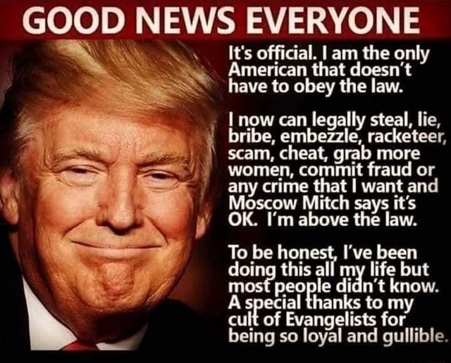 GOOD NEW GOOD S EVERYONE It's official. I am the only American that doesn't have to obey the law. now can legally steal, lie, bribe, embezzle, racketeer, scam, cheat, grab more women, commit fraud or any crime that I want and Moscow Mitch says it's OK. I'm above the law. To be honest, I've been doing this all my life but most people didn't know. A special thanks to my cult of Evangelists for being so loyal and gullible memes