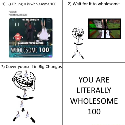 1 Big Chungus is wholesome 100 2 Wait for it to wholesome WHOLESOME 100 3 Cover yourself in Big Chungus YOU ARE LITERALLY WHOLESOME 100 memes