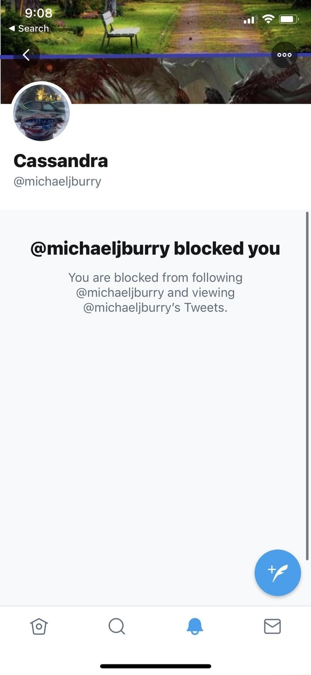 Search Cassandra michaeljburry michaeljburry blocked you You are blocked from following michaeljburry and viewing michaeljburry's Tweets meme