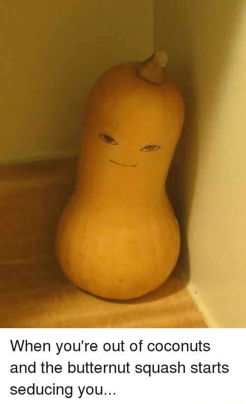 When you're out of coconuts and the butternut squash starts seducing you memes