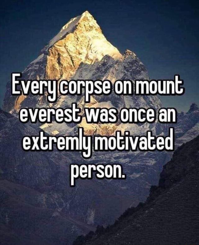 Be Every corpse on mount everesl was once an extremly motivated person, memes