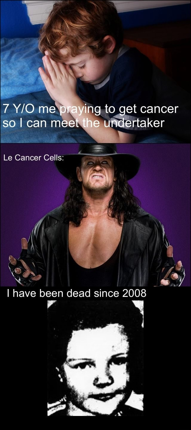 7 me praying to get cancer so I can meet the undertaker Le Cancer Cells I have been dead since 2008 meme