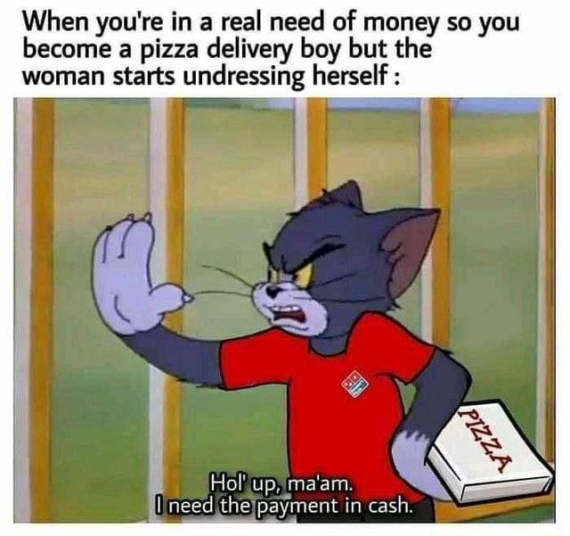 When you're in a real need of money so you become a pizza delivery boy but the woman starts undressing herself Hol up, ma'am. need payment in cash memes