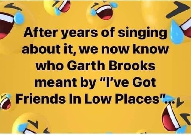 After years of singing about it, we now know who Garth Brooks meant by I've Got Friends In Low meme