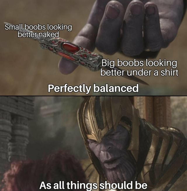 Smatl boobs looking better naked Big boobs looking better under a shirt Perfectly balanced As all things should be memes